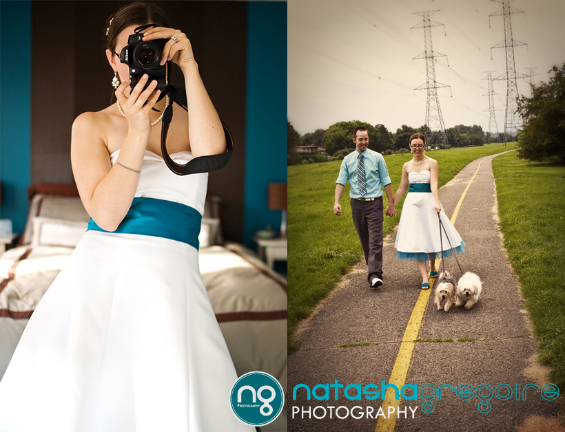 Photographer Bride and Walking the Dogs