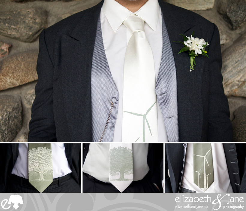 Wedding Photos: four photos of the groom and groomsmen wearing silk screenprinted ties. Cropped to just the torso to show the tie
