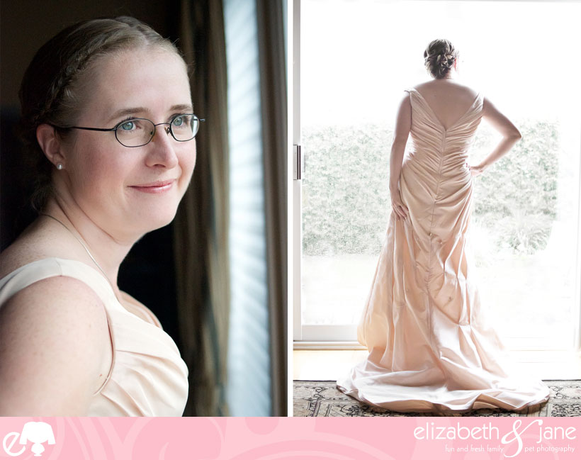 Wedding Photos: two photos of the bride. On the left is a portrait of her face and on the right is a full photo of the back of her dress, she is looking out the patio doors with her hand on her hip