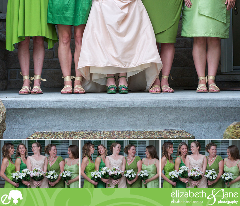 Wedding Photos: four photos of the bridesmaids and the bride. Top photo is of the bottom of their green dresses and shoes. Three bottom photos are of the bridesmaids and bride laughing