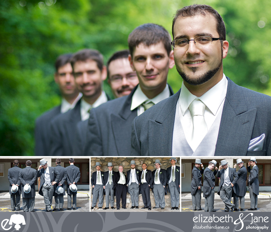 Wedding Photos: four photos of the groom and his groomsmen. Top photo is focused on the groom with his groomsmen out of focus behind him. Bottom photos are of the groom and groomsmen with their coat tails and top hats
