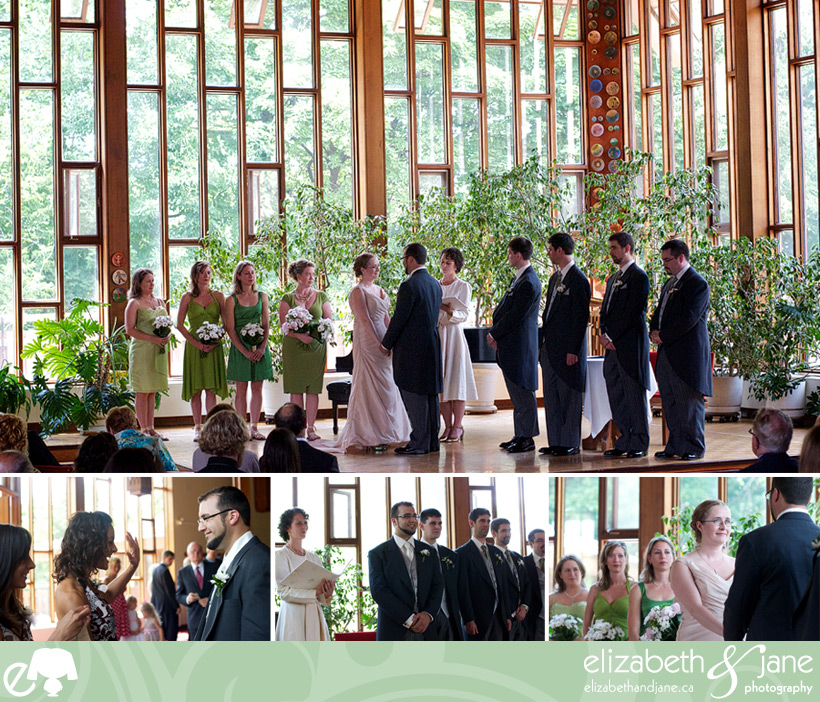 Wedding Photos: four photos of the wedding ceremony. Top photo they are saying their vows and the bottom photos are of the ceremony and guests