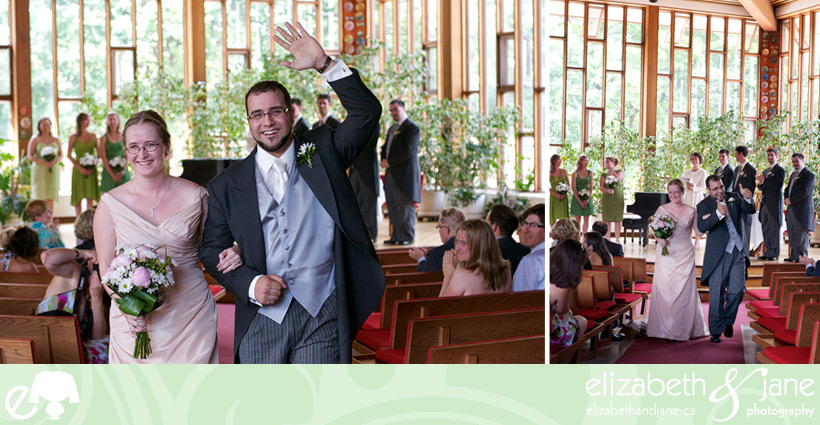 Wedding Photos: the couple are now married and are excited. Left photo the bride and groom are walking out from the ceremony and the groom is waving at the camera. Right photo is the same but he is giving thumbs up