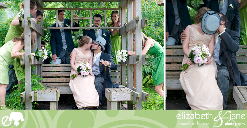 Wedding Photos: two photos of the bridal party. Couple sitting, kissing behind the groom's hat and the bridal party pointing and laughing
