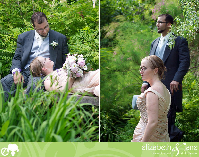 Wedding Photos: two photos of the bride and groom. Left photo is the bride lying on the groom and they are looking at each other. Right photo the bride is in focus standing in a fashion pose in front of the groom while they look off camera