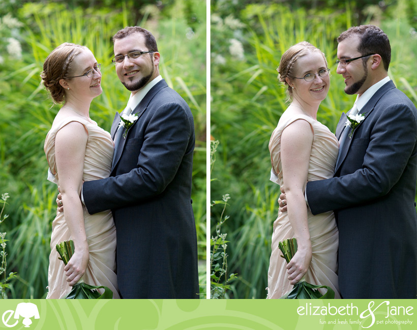 Wedding Photos: two photos of the bride and groom, one looking at the camera at a time