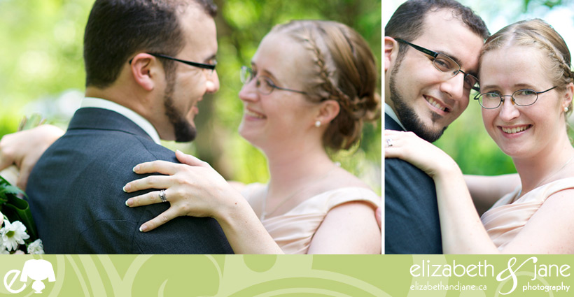 Wedding Photos: two photos of the bride and groom. Left has the bride's ring in focus. Right is a portrait of the bride and grom smiling