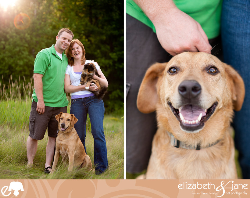 Two photos of a couple and their cat and dog