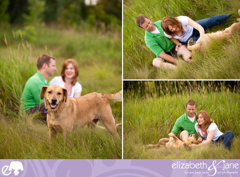Three photos of a couple and their dog