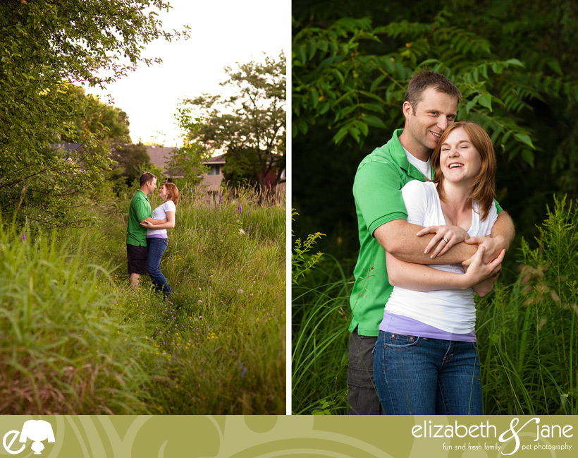 Two photos of a couple in green forest