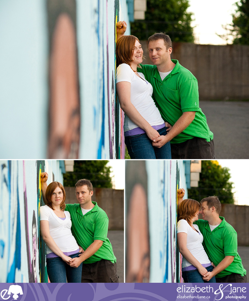 Three photos of a couple by a graffiti wall