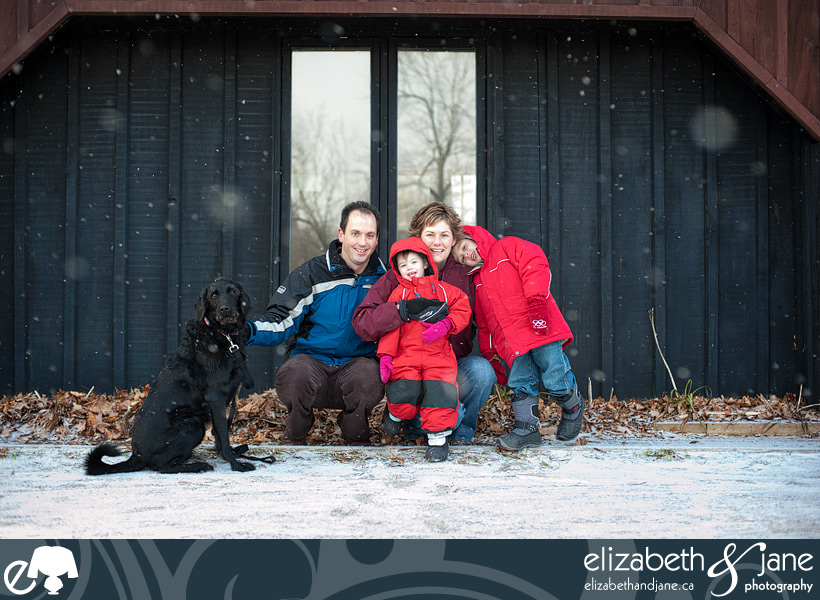 Family Photo: Family together in snow at Manotick Mill