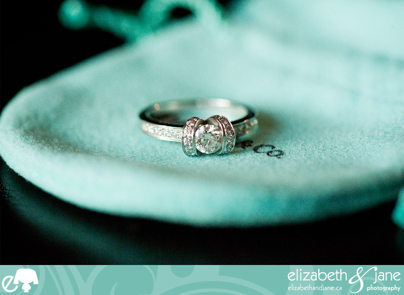 Engagement photo: beautiful diamond engagement ring sitting on a Tiffany blue bag