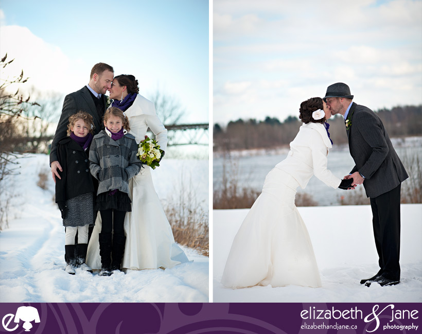 Wedding photo: couple getting married in the winter and snow in Ottawa