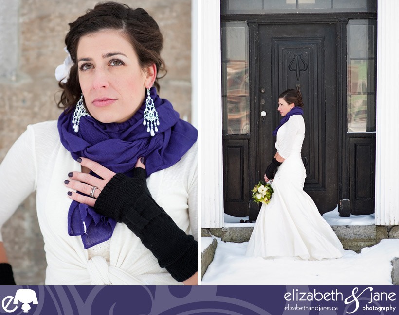 Wedding Photo: beautiful bridal portraits in the snow