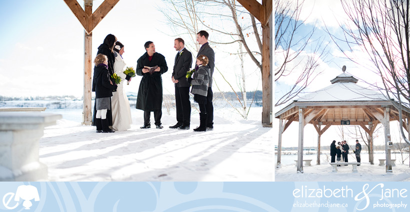 Wedding Photo: outdoor winter wedding ceremony