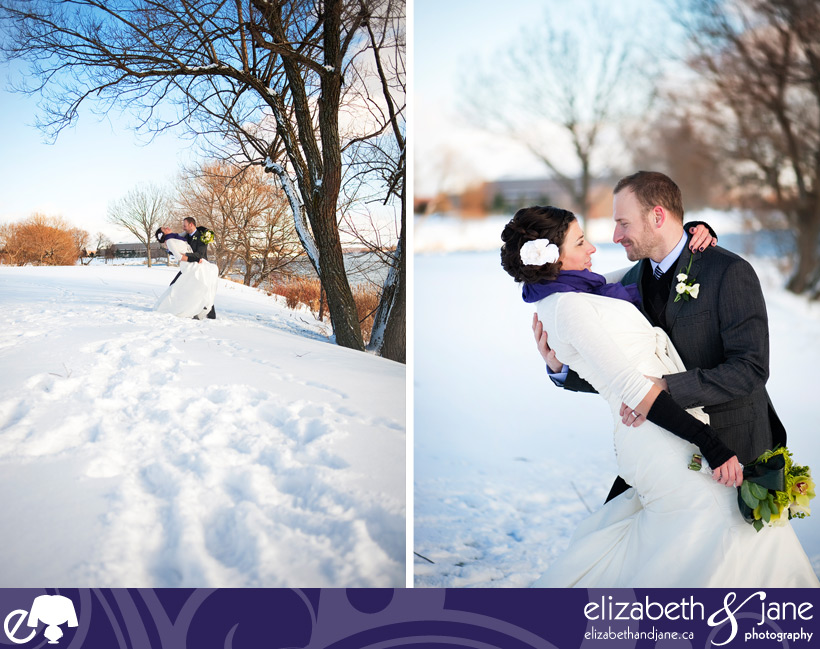 Wedding Photo: bride and groom dip under a tree in the snow