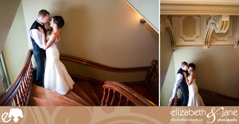 Wedding Photo: bride and groom on the stairs