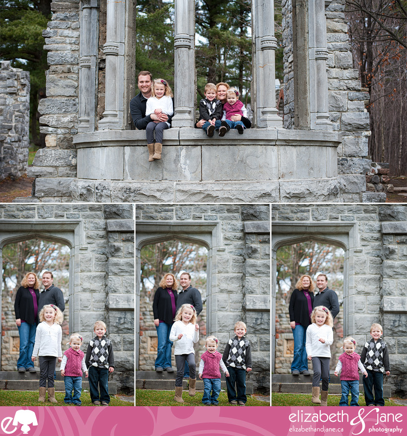 Family photo: family of five at Mackenzie King Estate in Gatineau Park