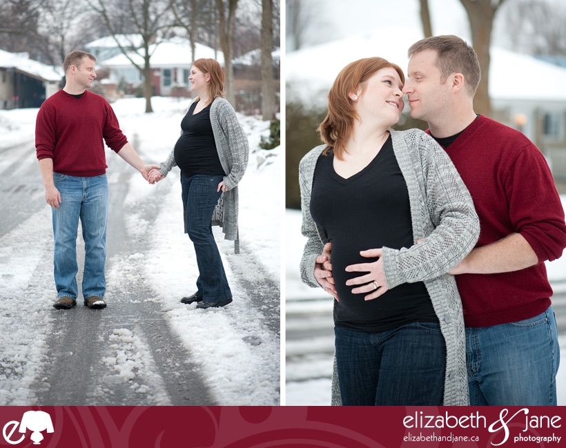 Maternity photo: couple in the snow