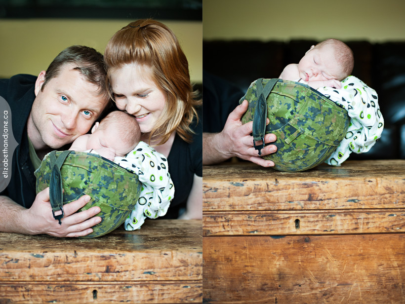 Newborn portraits - first time parents with their new baby in a Canadian Army Helmet