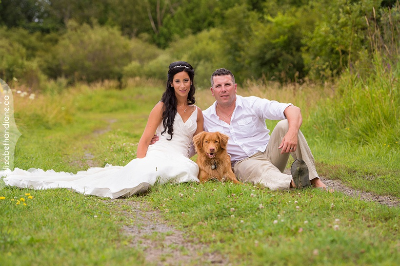 Erika and Trevor's wedding portraits with their dog at Lonestar Ranchn in Ottawa, Photographed by Liz Bradley of elizabeth&jane photography.