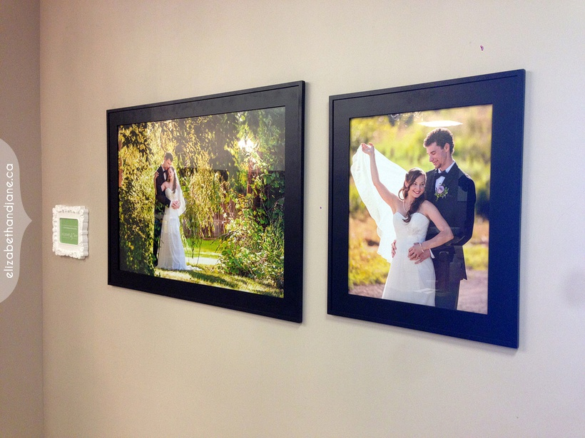 Portraits by Liz Bradley of elizabeth&jane photography are hanging at Luxe Spa in Ottawa