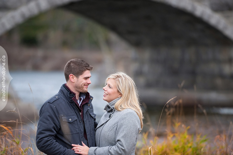 Ottawa engagement with their dog photographed at the Pakenham Bridge by Liz Bradley of elizabeth&jane photography