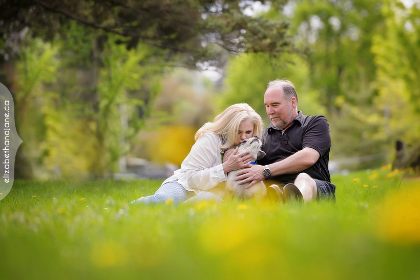 Lori and Tom's engagement session with their dog in Ottawa photographed by Liz Bradley of elizabeth&jane photography