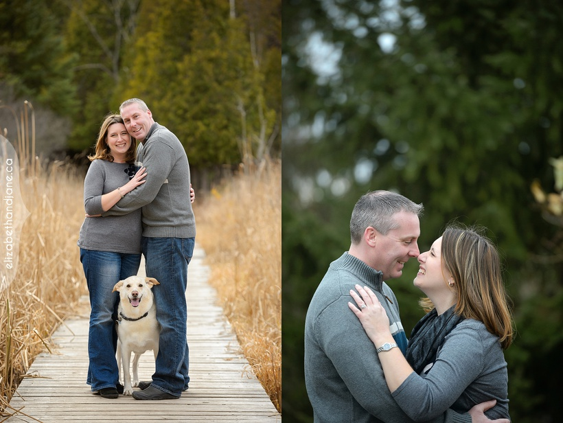 Colleen Kris anniversary session with their dog photographed by Liz Bradley in Ottawa from elizabeth&jane photography