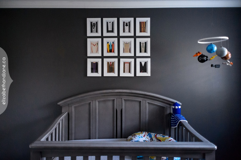 Our nerdy nursery baby's room with Star Wars, Doctor Who, Teenage Mutant Ninja Turtles, Star Trek, Ghostbusters, Firefly, Harry Potter, Wonder Woman, Robot, Dragon, Marvel, Monster, Dog, Lego, and Dinosaur details.