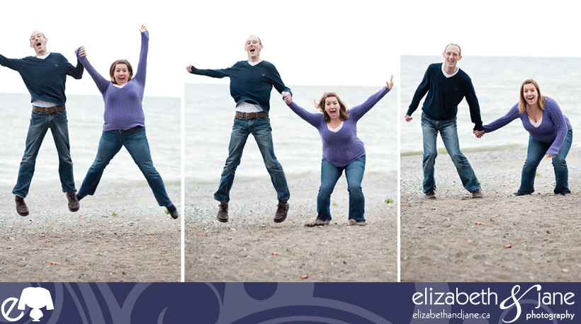 Engagement photo: couple jumping on the beach