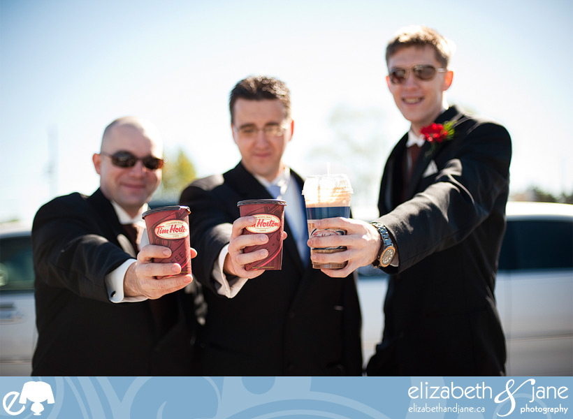 Wedding Photo: the groomsmen and their Tim Hortons