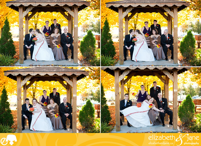 Wedding Photo: Bridal party with yellow fall foliage behind them
