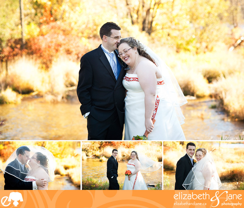 Wedding Photo: bride and groom posing with beautiful fall colours