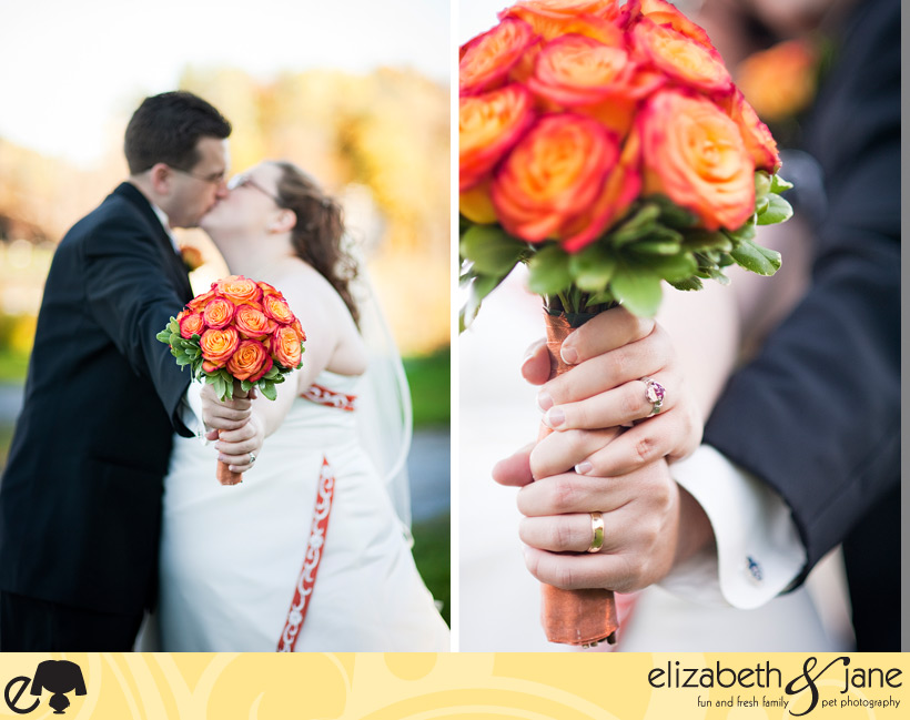 Wedding Photo: bride and groom holding the bridal bouquet