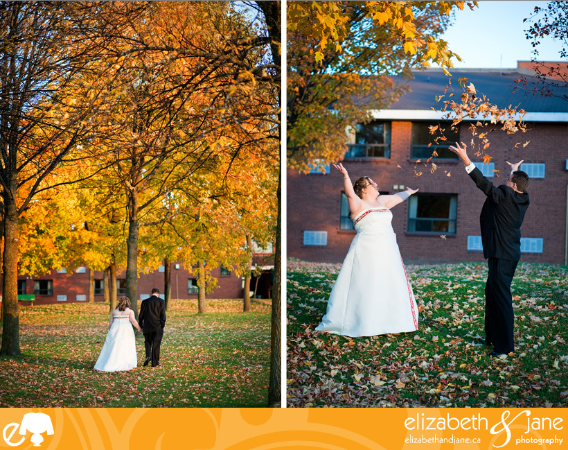 Wedding Photo: bride and groom walking among the fall trees