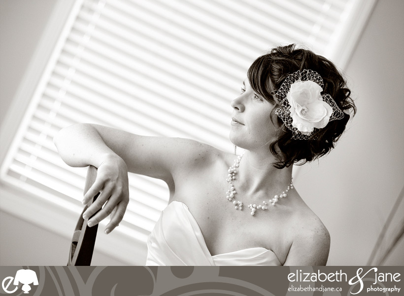 Beautiful black and white portrait of the bride on her wedding day.