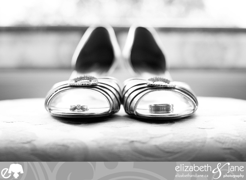 Wedding rings on the bride's shoes