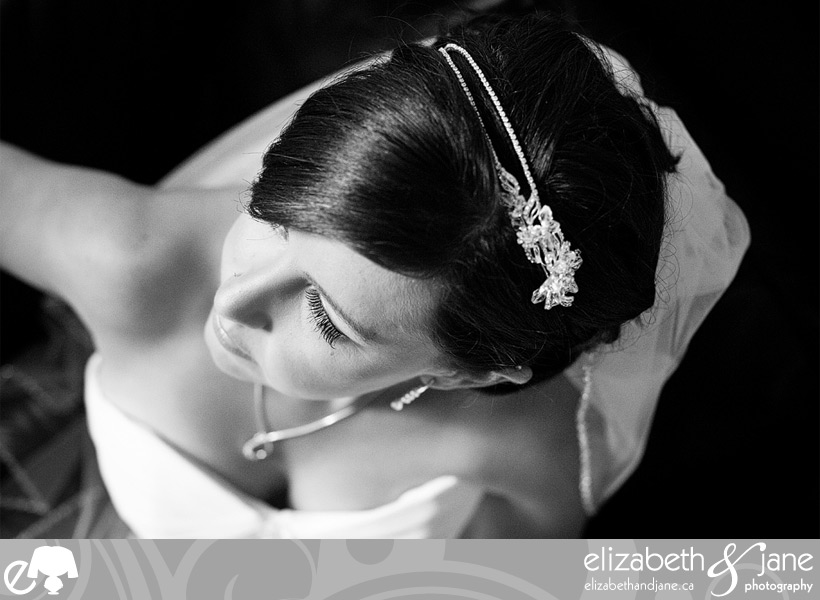 Beautiful black and white bridal portrait shot from above