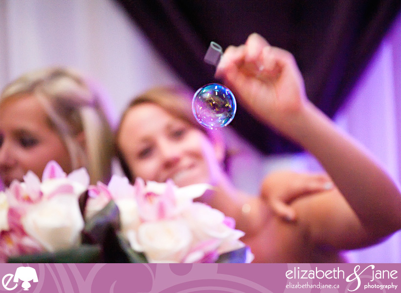 Blowing bubbles at the reception